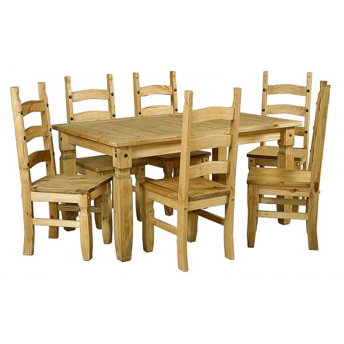 Corona Large Dining Table With 6 Chairs (LWP)1780W x 920D x 760H Home Furniture