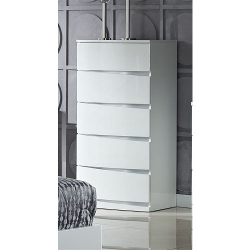 Arden 5 Drawer Chest High Gloss White Home Furniture