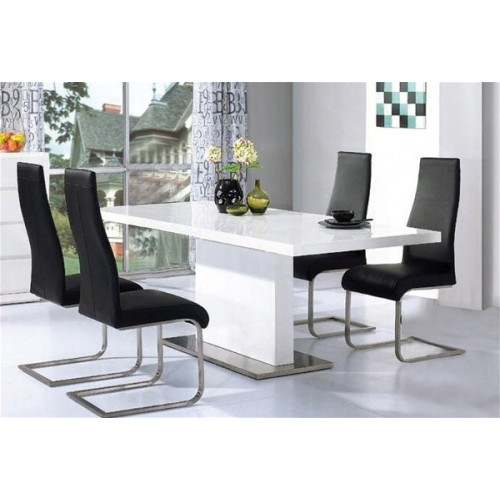 Chaffee High Gloss Dining Set + 4 Chairs Home Furniture
